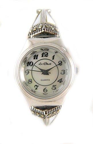Elegantes Deco Stil Echt Perlmutt und echtem Markasit Damen Silber Ton Expansion Band Armbanduhr