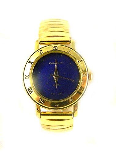 Damen Echt Lapis Lazuli Gold Tone Expander Armband gepraegt roemischen Ziffern zu der Fall