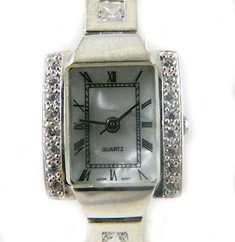 Fantastische gekennzeichnet Silber Fall Set mit funkelnden Zirkonia und Zirkonia quadratisch Steine Set in das Armband