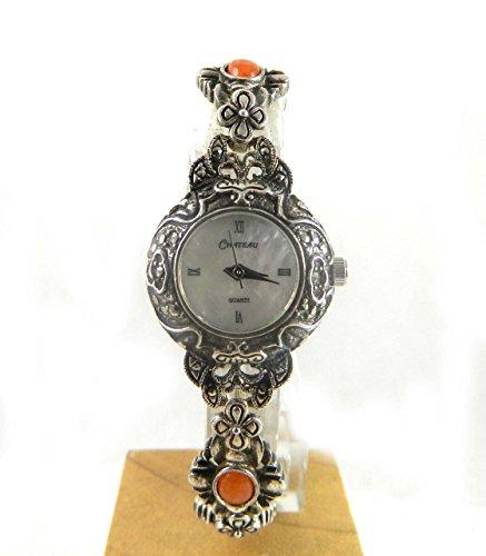 Damen Chateau gekennzeichnet Silber Markasit Echte Perlmutt und Halbedelstein Armband Armbanduhr