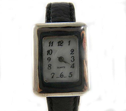 Damen gekennzeichnet Silber Faux Mother of Pearl Zifferblatt schwarz Armbanduhr Box
