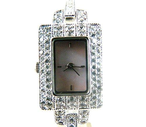 Gorgeous Silber gekennzeichnet Zirkonia besetzt Cocktail Uhr Echte Mutter von Pearl Zifferblatt