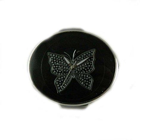 Grosse Oval Damen schwarz Zifferblatt mit Schmetterling Armbanduhr