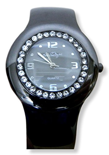 Haematit und Kristall Damen Armband Scharnier Armreif Armbanduhr schwarz New Box