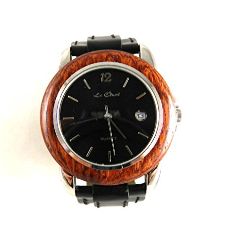 Herren auf Trend Echtholz Holz Dark Case Schutzhuelle Silber Ton Datum Armbanduhr NEU verpackt
