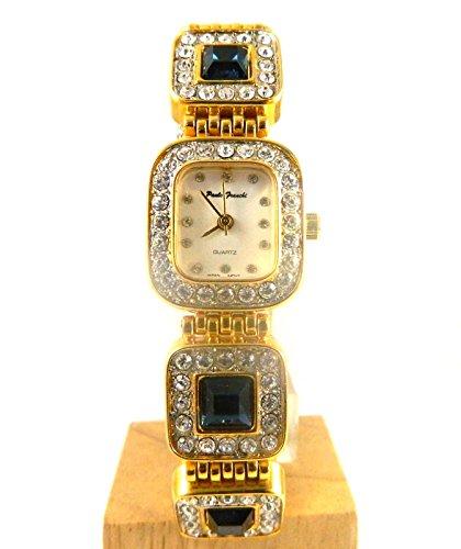 Schoen Gold Ton gross Kunstleder saphir und klar Crystal Set Armband Armbanduhr