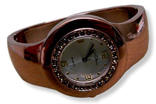 Auf Trend Damen Kupfer Ton Echt Crystal Set Tasche Armreif Armbanduhr New Box