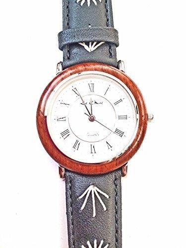 Auf Trend Gents Damen Lederband Echt Holz schwarz silber Ton Armbanduhr NEU verpackt