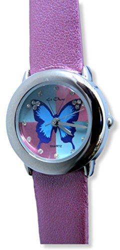 Damen Maedchen Silber Ton Schmetterling Zifferblatt glitzernden pinken Armbanduhr New Box