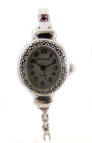 Zarte echtem Markasit Silber Ton Amethyst Kristall Februar Geburtsstein Damen Armband Armbanduhr