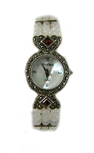 mit Punze echtem Markasit und Silber 3 Reihe Amethyst und Rosenquarz Armband Armbanduhr