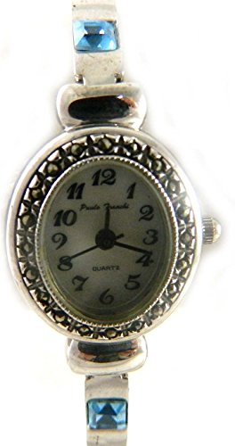 Pretty Zarte echtem Markasit Silber Ton Aquamarin Crystal Set Damen Armband Armbanduhr