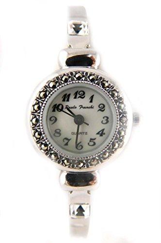 Zarte echtem Markasit Silber Ton Crystal Set Armband Uhr echt Perlmutt Zifferblatt New Box