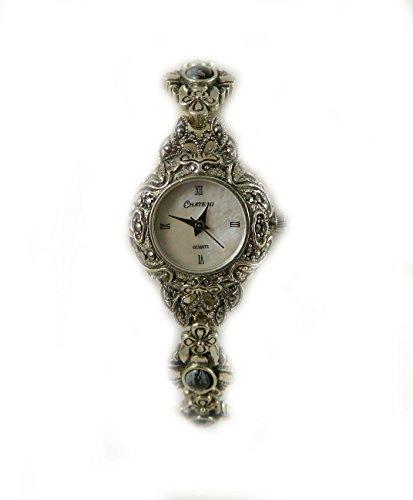 Massivem gekennzeichnet Silber echtem Markasit und grau semi precious Damen Armband Armbanduhr
