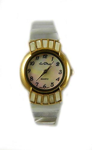 Damen echte Mutter von Pearl Zifferblatt Fall und Expander Armband Armbanduhr