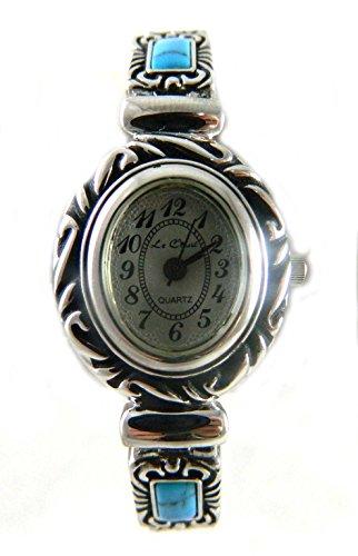 Native American Indian Vintage Look Tuerkis Style Stein Set Damen Expander Armbanduhr