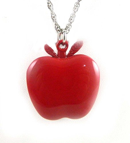 Niedliche Red Apple OEffnung auf Anhaenger Armbanduhr Silber Ton Seil Kette 80 cm lang