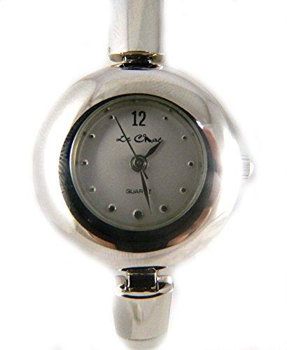 Damen Poliert Silber Ton Flexible Block Armband Armbanduhr