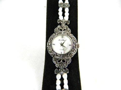 Pretty Brautschmuck Braut Echte Markasit Frisch Wasser Pearl gekennzeichnet Silber Armbanduhr BNIB