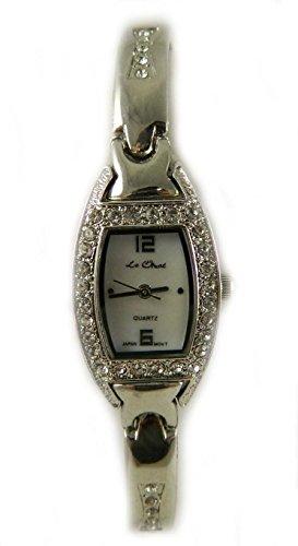 Pretty Le Chat Silber Ton echten Kristall Armband Armbanduhr