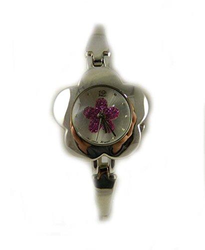 Pretty Flower Form Silber Ton Armband Uhr Pink Blume Glitzer Zifferblatt
