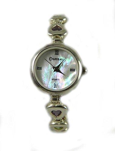 mit Punze Silber und Rainbow Herz Stein Armband Armbanduhr