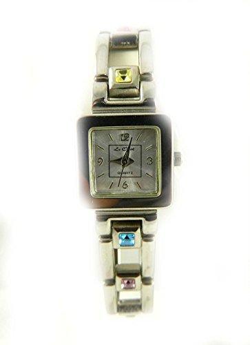 Quadratisch Fall Silber Ton Armband Regenbogen Kristalle Damen Armbanduhr