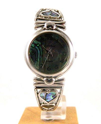 Damen Rhodium Look Abalone Zifferblatt Expander Armbanduhr Herzen New in Box