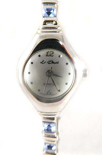 Light Sapphire Crystal Set Silber Ton Armband Uhr echt Perlmutt Zifferblatt