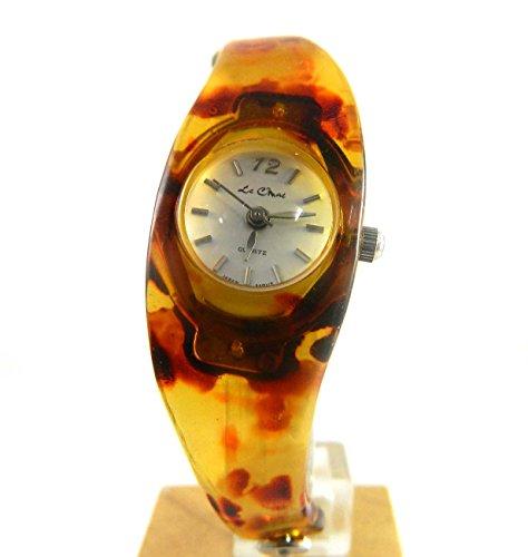 Schildpatt Look Formkoffer und silberfarbenen Ton Kette Armreif Armbanduhr Damen Box