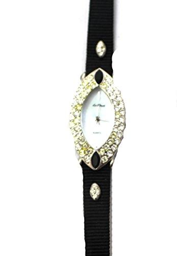 Damen Schwarz grograin Armbanduhr Vintage Style Jet Kristall New Box