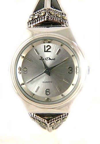 Deco Style schwarz und Original Markasit Damen Expansion Band Silber Ton Armbanduhr