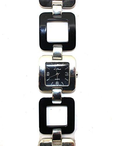 Damen Schwarz und Silber Ton Quadratisch Fall und Armband Armbanduhr New Box