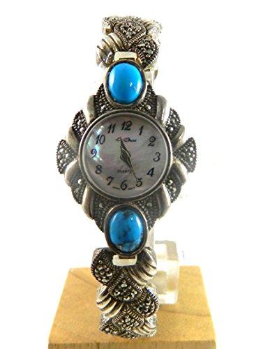 Schwere Silber gekennzeichnet echtem Markasit Tuerkis Steine Echt Perlmutt Gesicht Damen Armband Armbanduhr