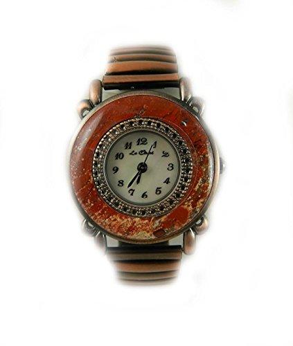 Seltener Semi Precious Stone Set Case matt auf Trend Copper Tone Expander Uhr Echte Mutter von Pearl Zifferblatt