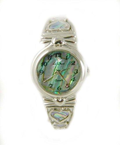 Damen Silber Ton echten Abalone Zifferblatt Expander Armbanduhr Herzen New Box