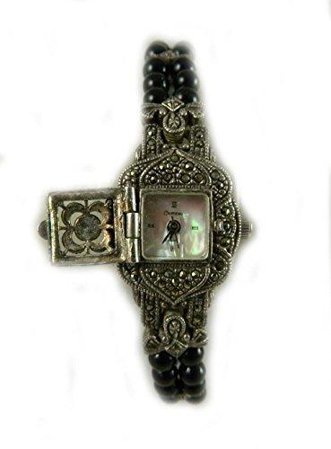 mit Punze Silber und 2 Zeile Armband Vintage Look Markasit Uhr mit Abdeckung