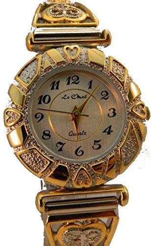 Damen Gold Silber Ton Filigre Herz Expander Armband Uhr Kleine Handgelenke nur