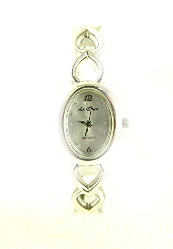 Damen Silber Ton Herzen Valentine Armreif Armbanduhr New Box