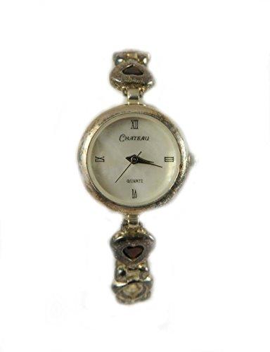 mit Punze Silber Herzform fuer echte Granat Damen Armband Armbanduhr Januar Geburtsstein