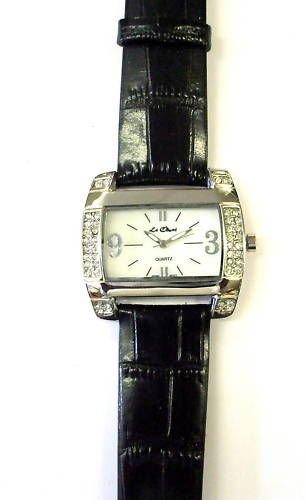 Silber Ton Kristall fuer echte Lederband Armbanduhr New Box