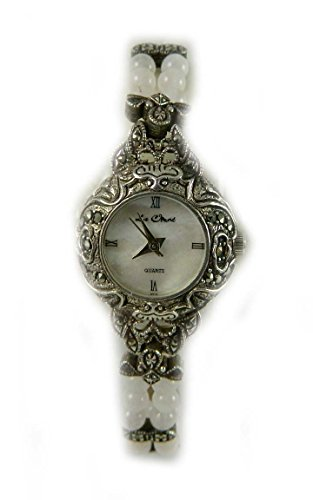 mit Punze Silber echtem Markasit und 2 Reihen Rose Quarts Bead Armbanduhr 106415rq