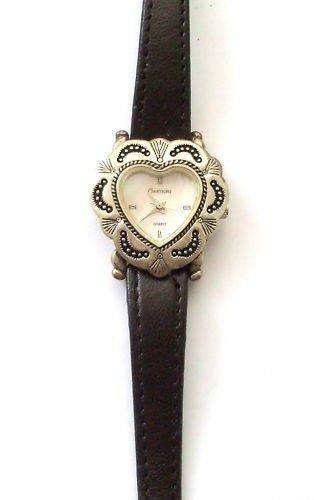 Echt Silber Style Valentine Heart leather strap Watch