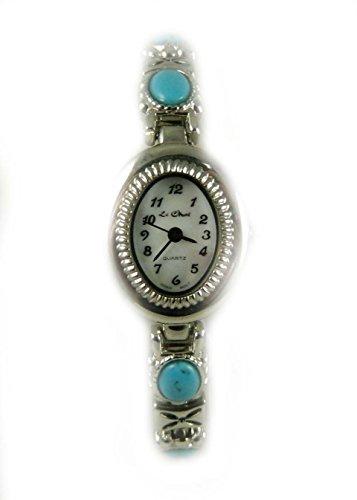Damen Silber Ton Tuerkis Kunstleder Armband Armbanduhr