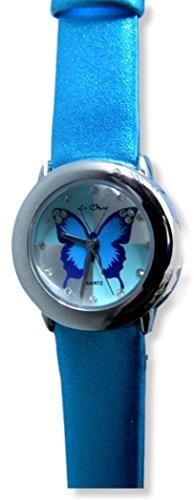 Sparkly tuerkis blau Damen Maedchen Butterfly Armbanduhr New Box