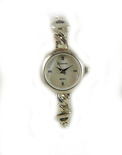 Echter Granat Set Sterling Silber gekennzeichnet Herz Valentine Armband Armbanduhr