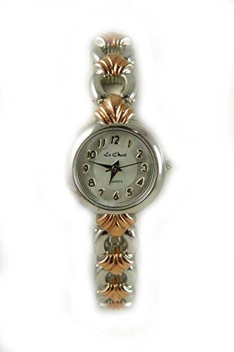 Auf Trend Silber und Rose Gold Ton Damen Armband Armbanduhr