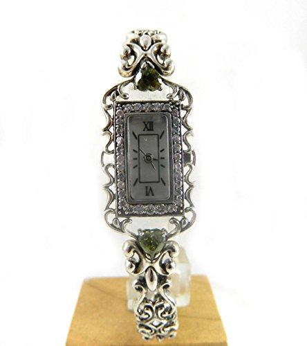Ungewoehnliche Fancy Vintage Look gekennzeichnet Silber Peridot und CZ Armband Armbanduhr New Box