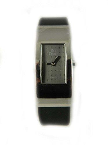 Full Force Unisex Gross Silber Ton Fall Rubber Strap schwarzem Zifferblatt Armbanduhr