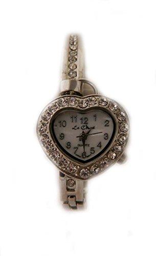 Valentines Drop Herz Armband Uhr Silber Kristall Strass New Box